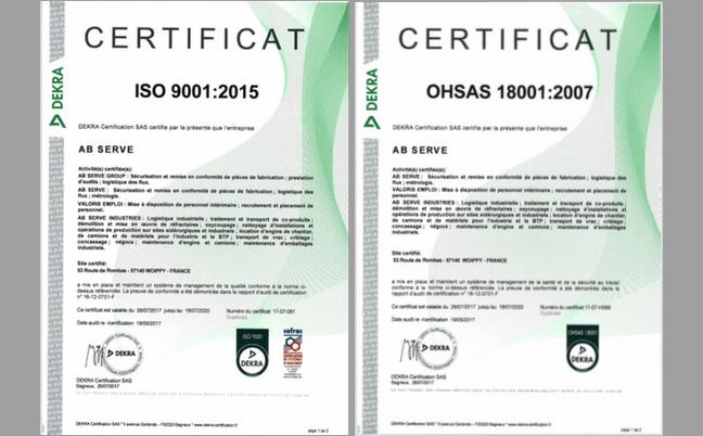 Certificats de renouvellement 2017